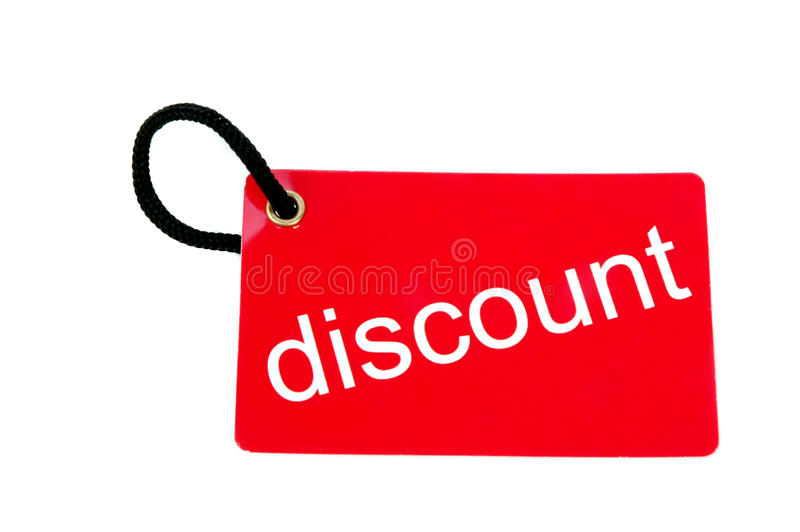 Download Red Paper Tag Labeled With Discount Words Stock Image - Image of design, output: 27419863