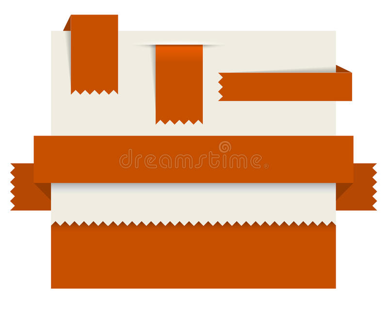 Red Paper Tags - Vector Ribbons Royalty Free Stock Photography