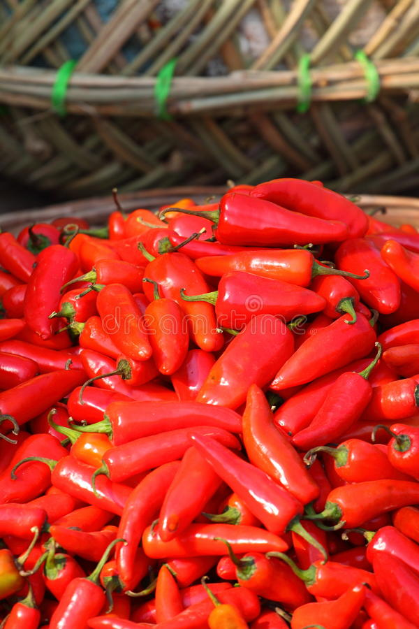 Red paprica in traditional vegetable market. royalty free stock images