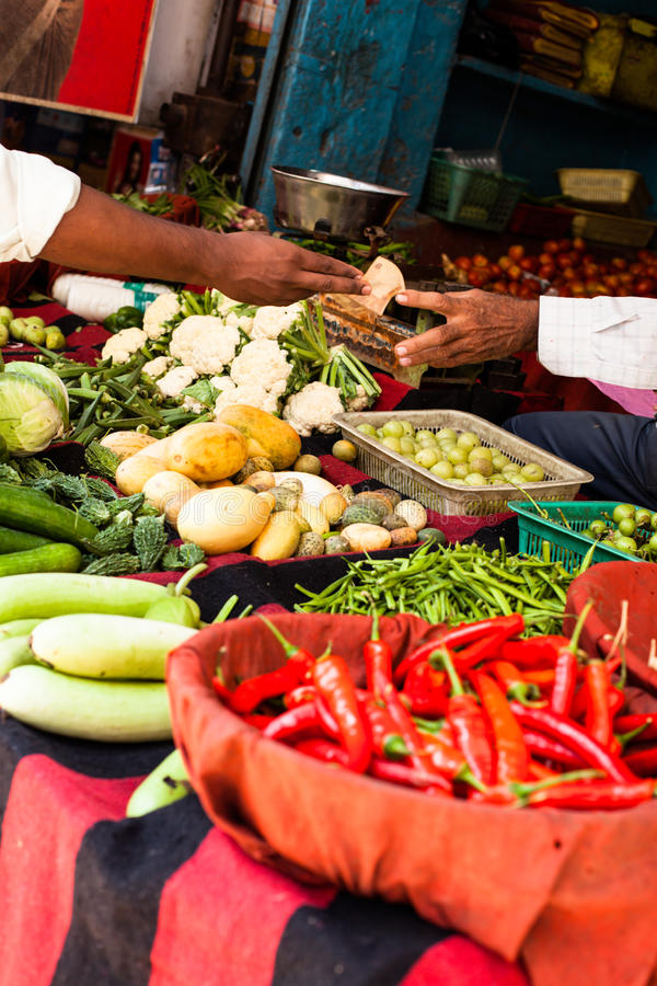 Red paprica in traditional vegetable market in India. royalty free stock image