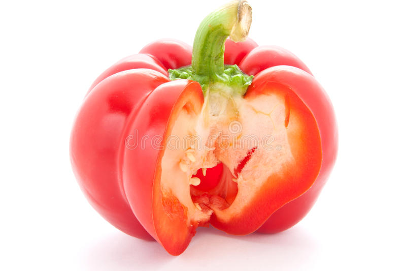 Red paprika with cut the middle. royalty free stock photo
