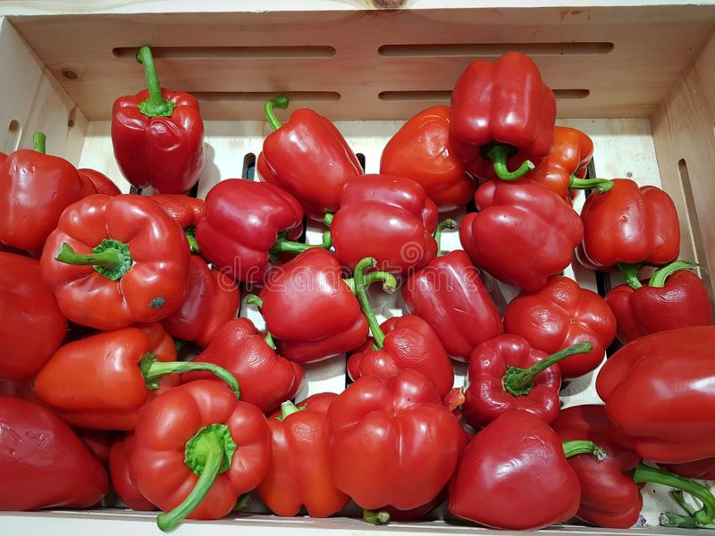 Red paprika for sale stock photography