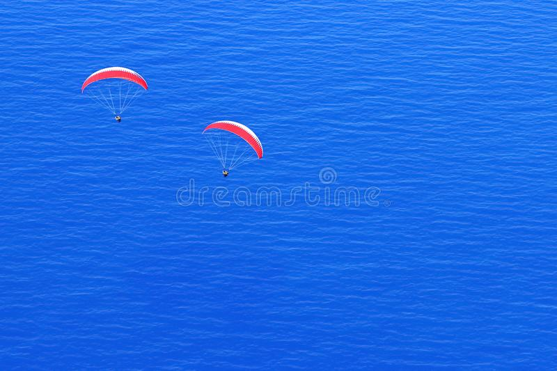 Red parachutes in the sky above the blue sea. Image in the style of minimalism. royalty free stock photos