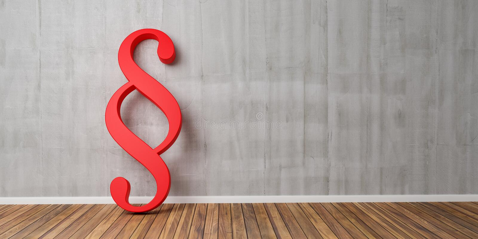 Red Paragraph smybol against a grey concrete wall - law and justice concept image - 3D Rendering royalty free illustration