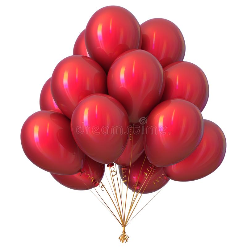 Red party balloons happy birthday decoration glossy vector illustration