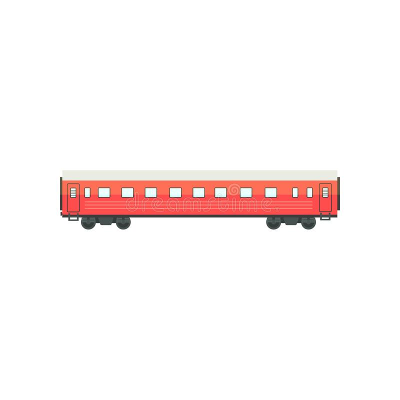 Free Red Passenger Train Wagon, Railway Carriage Vector Illustration On A White Background Stock Photography - 126780532