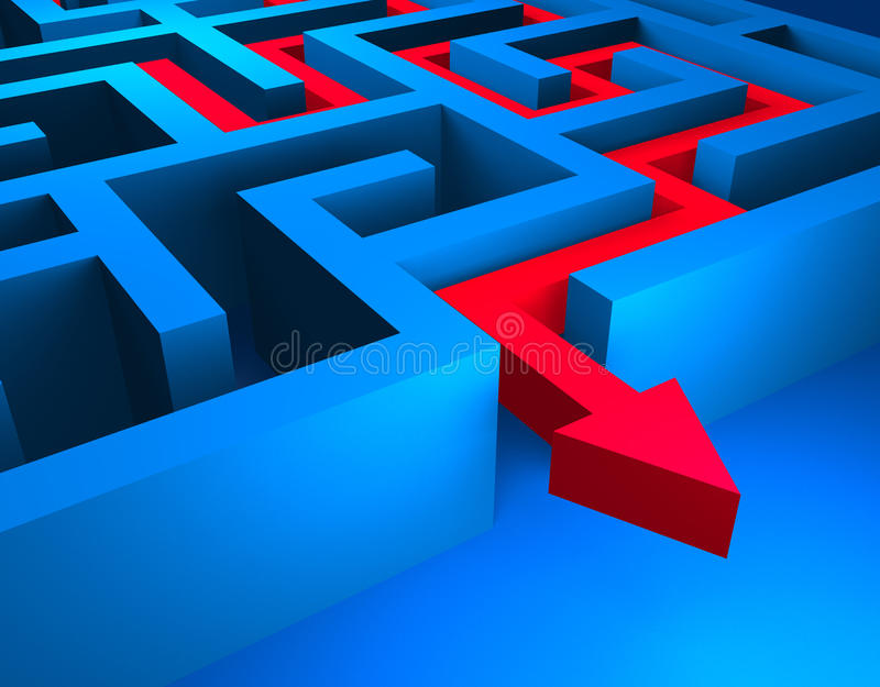 Red path across blue labyrinth stock illustration