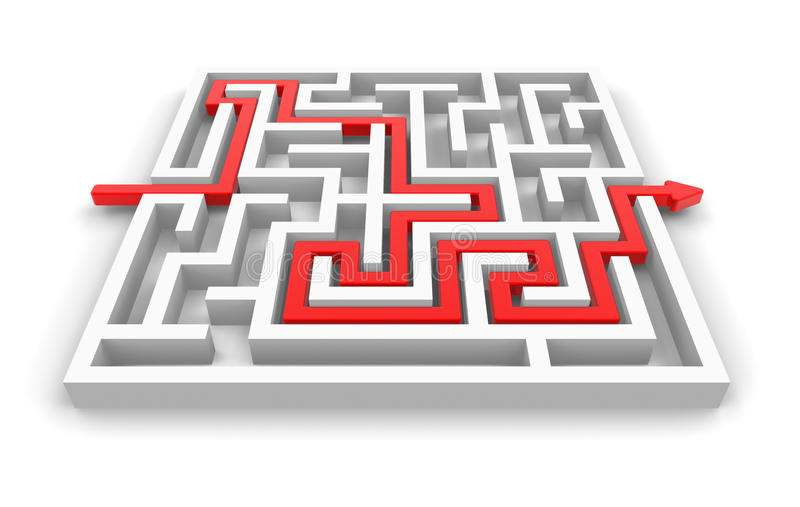 Download Red path across labyrinth stock illustration. Image of find - 22871074