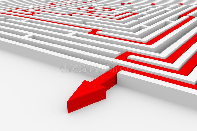 Red Path From Labyrinth. Right Way. Royalty Free Stock Photos