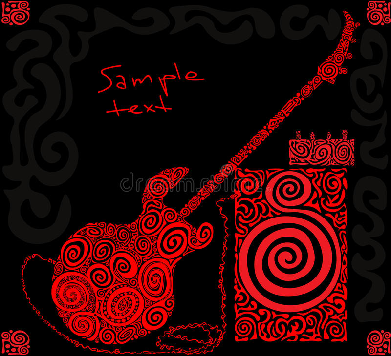 Red pattern bass guitar royalty free stock photos