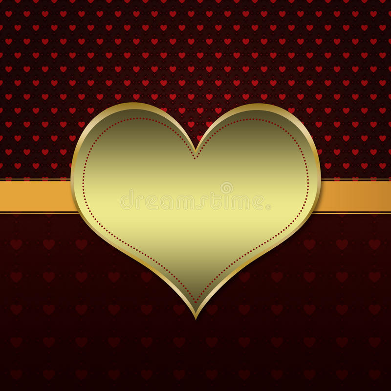 Red pattern with gold heart stock illustration