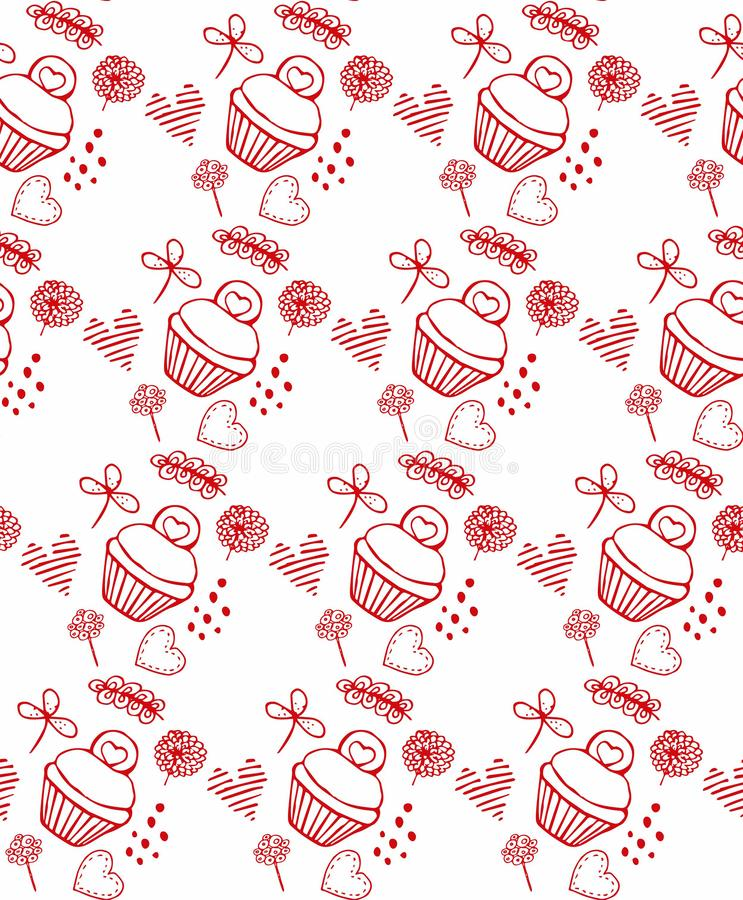 Red pattern kuki and flowers, cakes. Illustration stock illustration