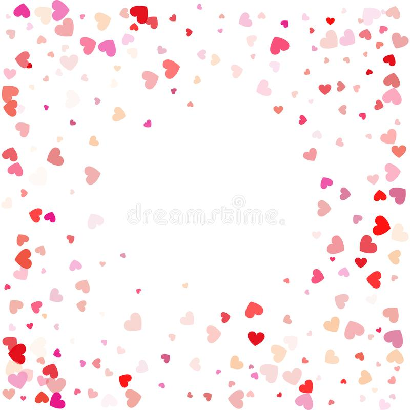 Red pattern of random falling hearts confetti. Border design element for festive banner, greeting card, postcard, wedding. Invitation, Valentines day and save vector illustration