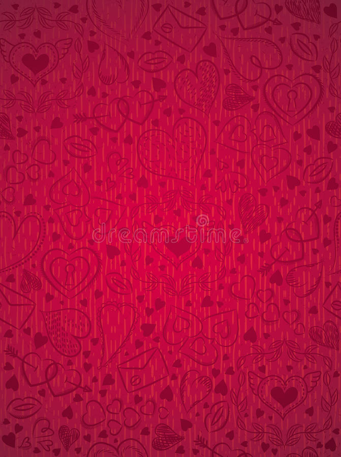 Red patterned background with valentine hearts, vector royalty free stock image
