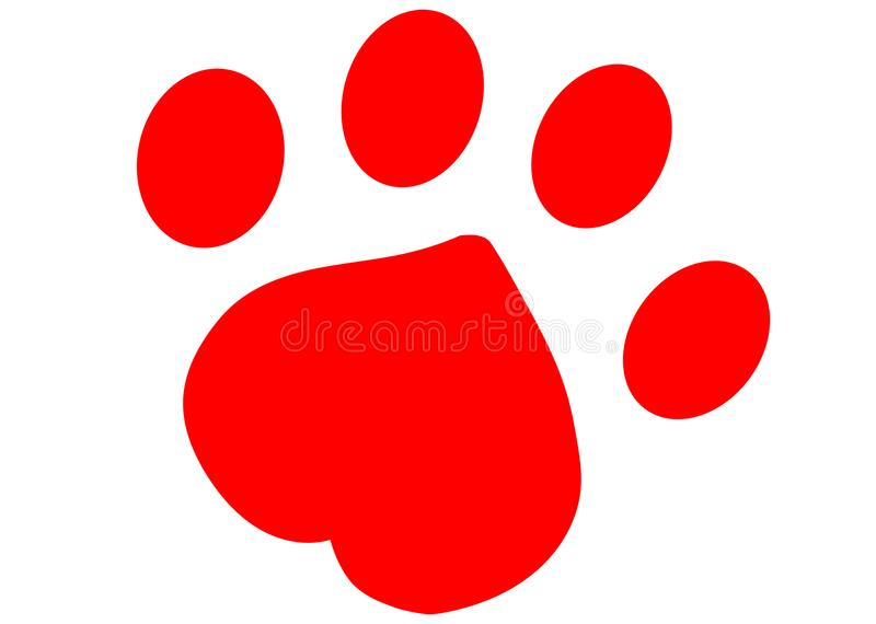 Red Paw print. Cute pets [dogs and cats] paw print isolated on white stock illustration