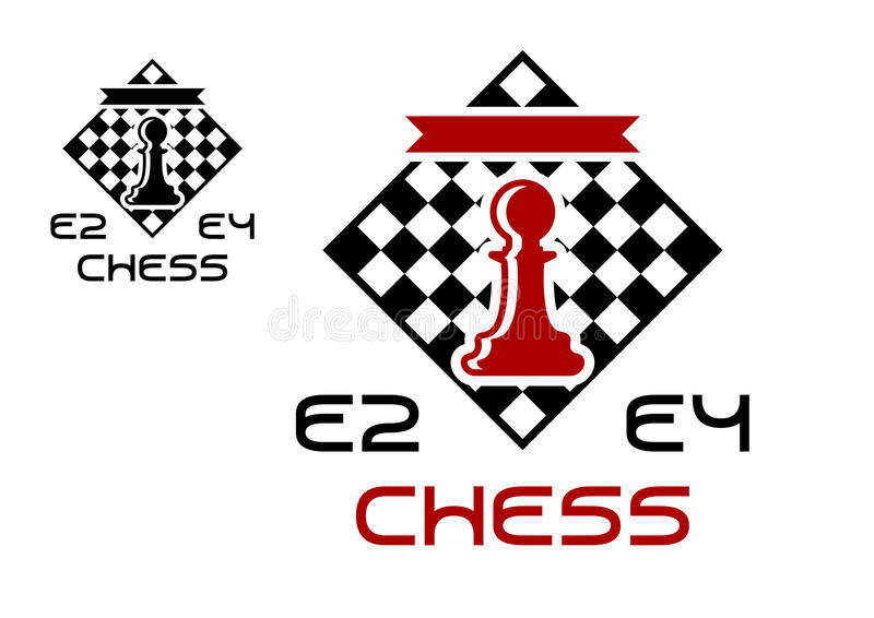 Red pawn on chess board vector illustration