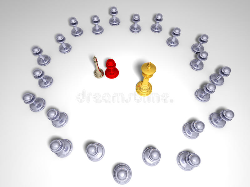 Download Red Pawn With Jester Behind Him In Front Of King Stock Illustration - Image: 14837977