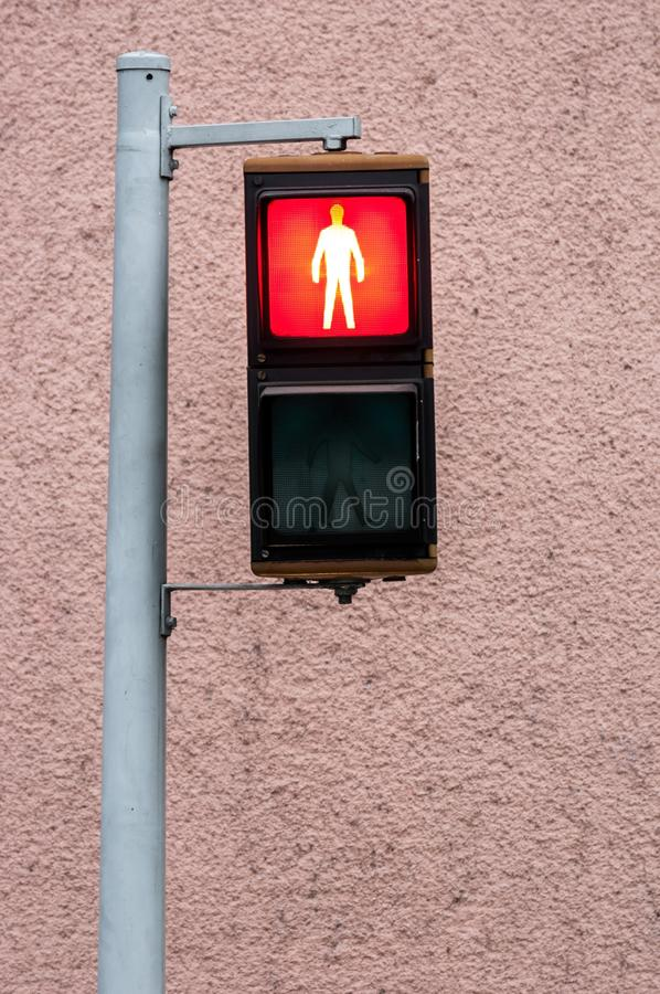 Red pedestrian lamp royalty free stock photo