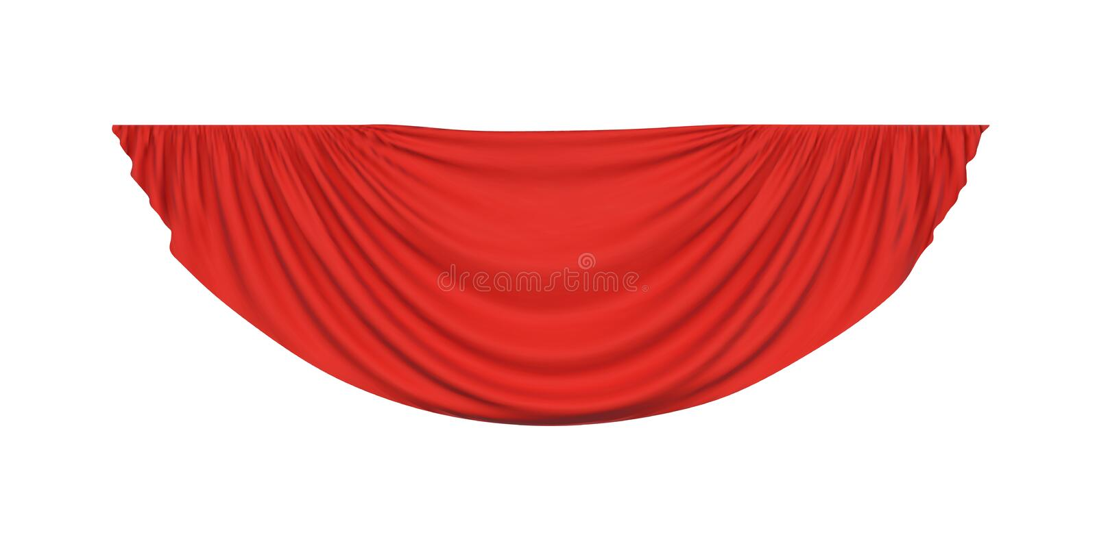 Red pelmet drapery curtain royalty free illustration