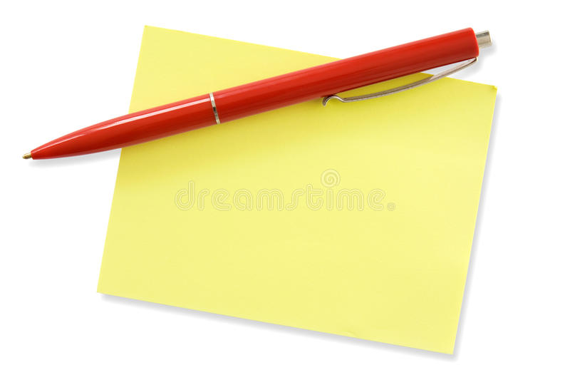 Red pen and yellow memo. Ready for your own message stock photos