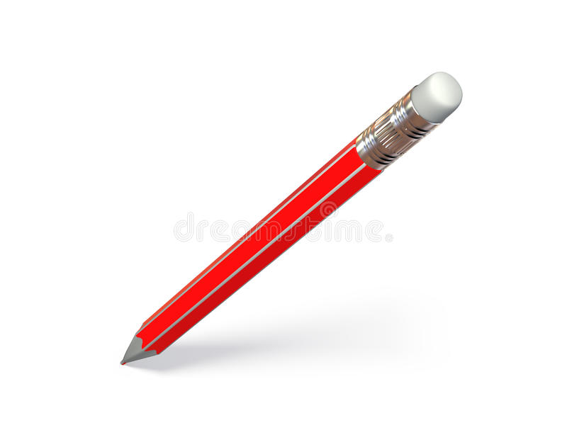 Red Pencil. Isolated on white with soft shadow royalty free illustration