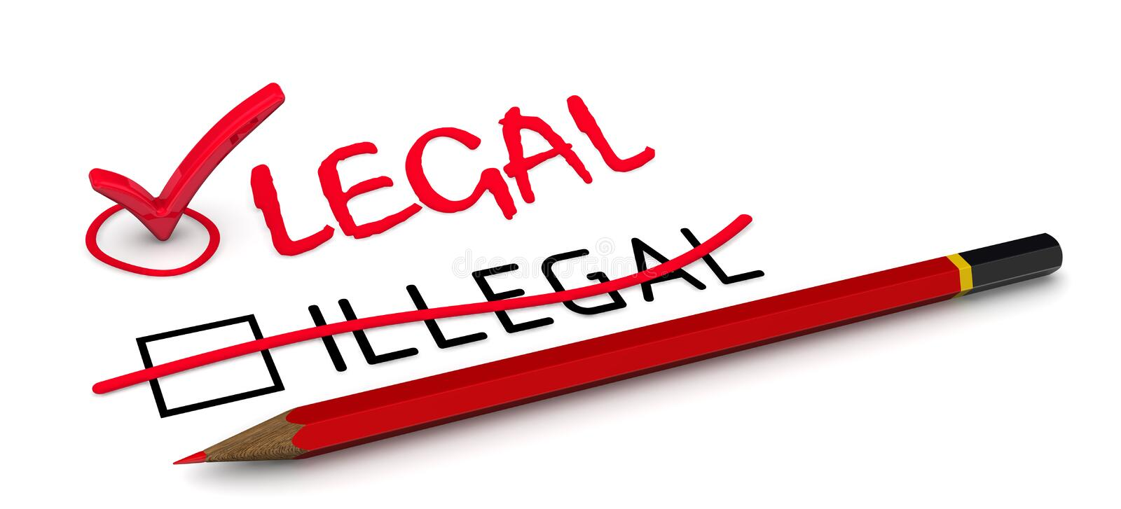ILLEGAL is corrected to LEGAL. The concept of changing the conclusion royalty free illustration