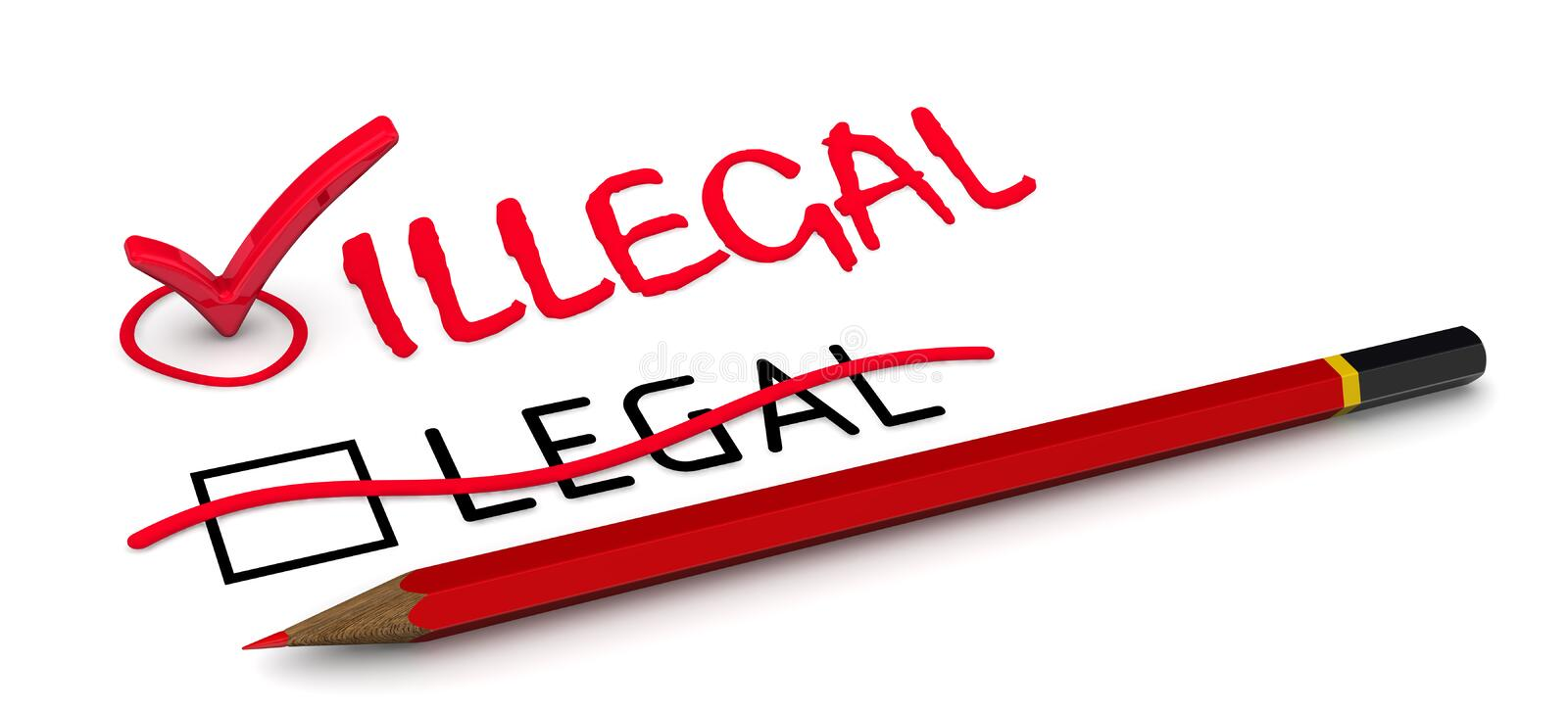 LEGAL is corrected to ILLEGAL. The concept of changing the conclusion royalty free illustration