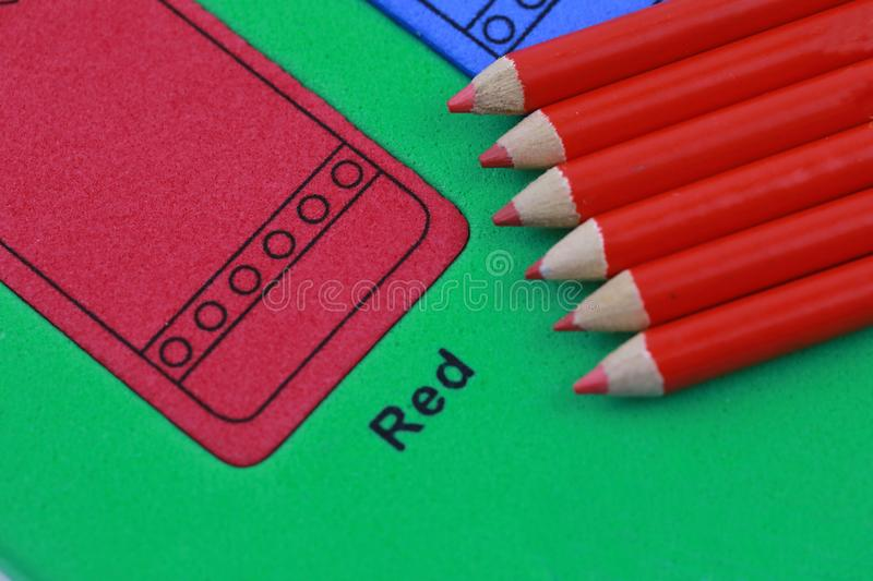 red pencil crayon stock images