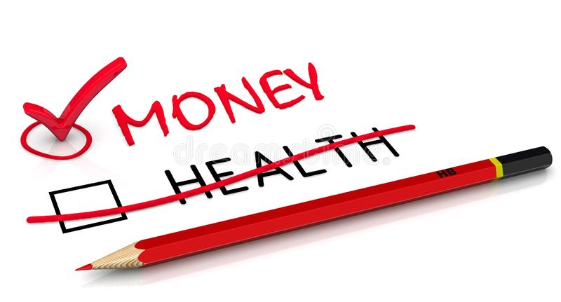 Money is more important than health. A red pencil crossed out the word HEALTH and wrote the red word MONEY. The concept of selection changes. 3D Illustration royalty free illustration