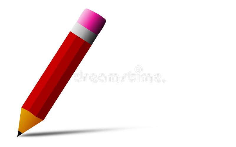 Red pencil with eraser isolated stock image