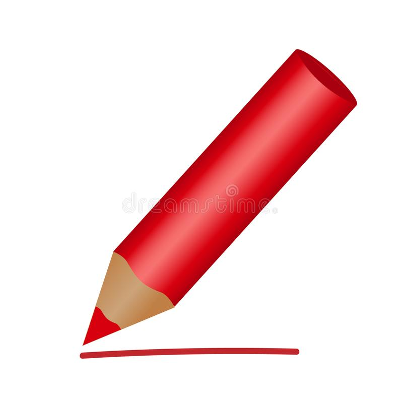 Red pencil Icon, flat. Isolated on white background. Vector stock illustration