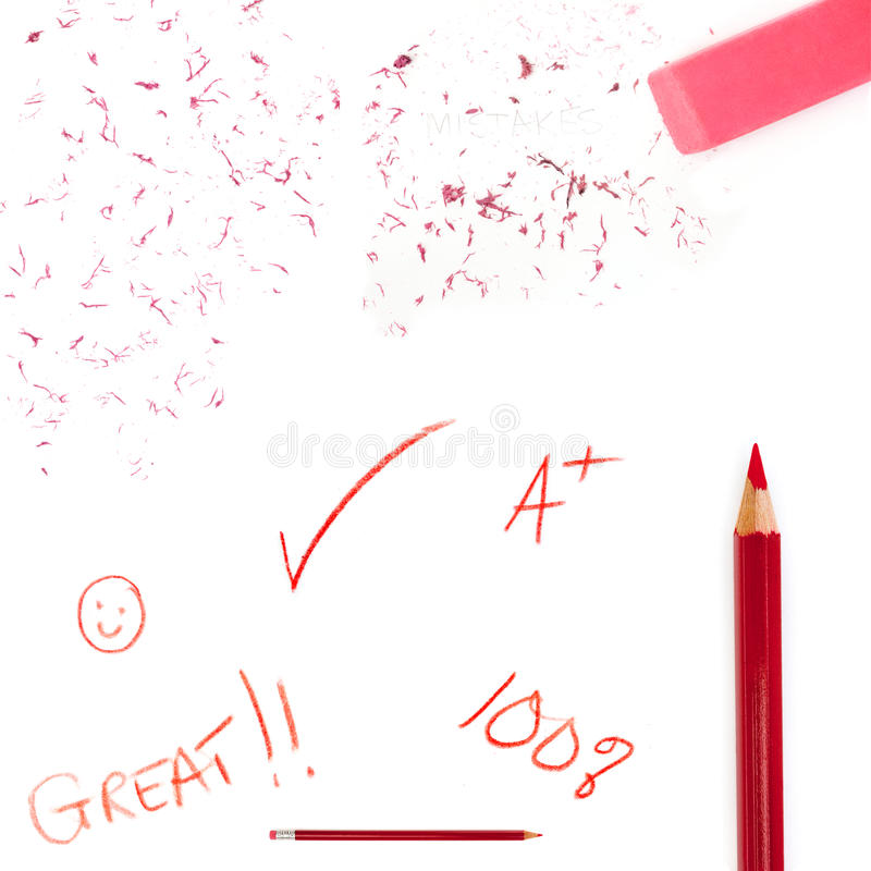 Red Pencil Jottings Stock Photo