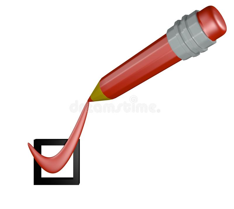 Red pencil placing a mark in the box. 3D rendering. Red pencil placing red mark of completion in a black box, symbolizing successful concussion to a task royalty free illustration