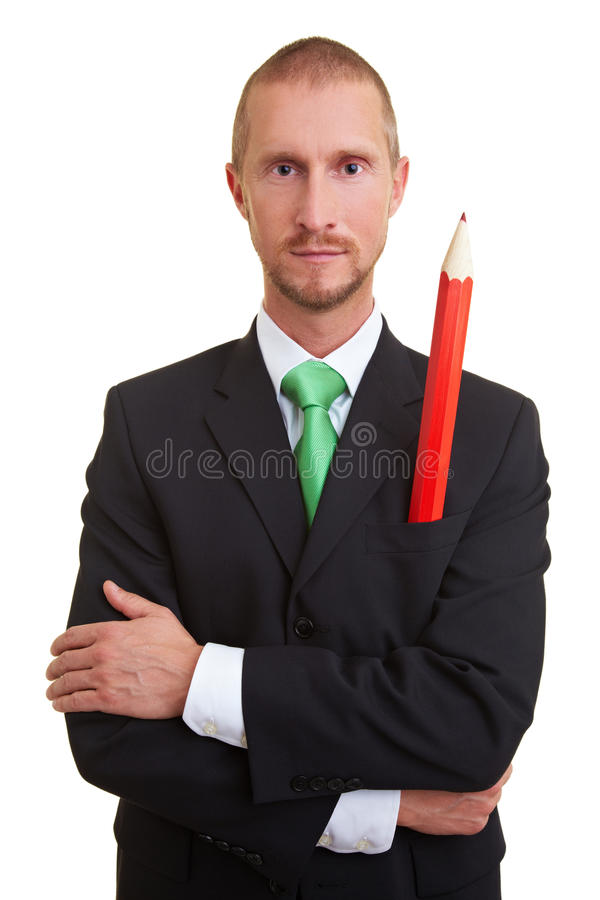 Download Red pencil in pocket stock photo. Image of corporate - 11708684