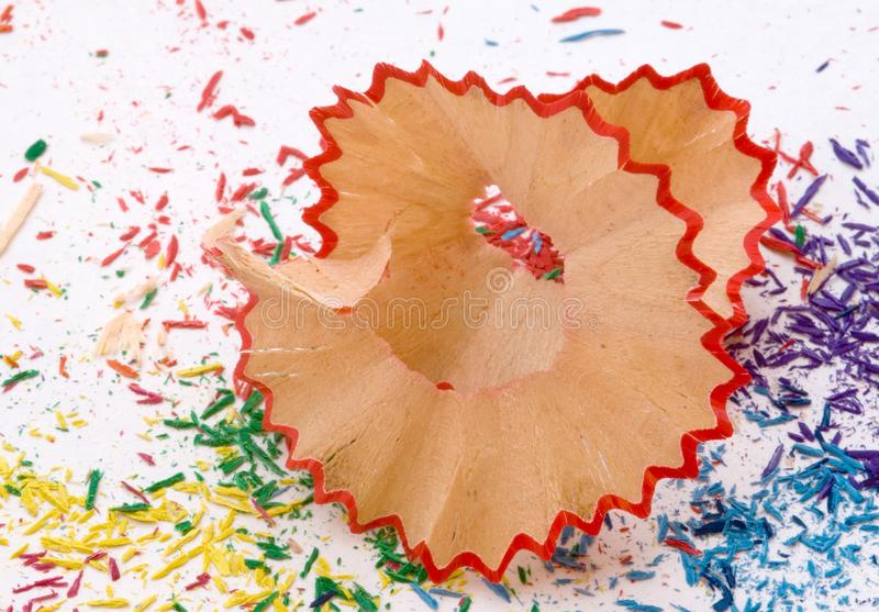 Red pencil shaving stock image
