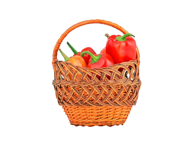 Red pepper in basket royalty free stock photography