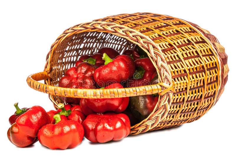 Red pepper in basket royalty free stock photos