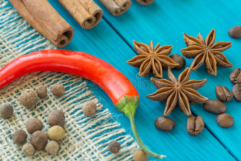Red pepper, coffee beans, and star anise stock photos