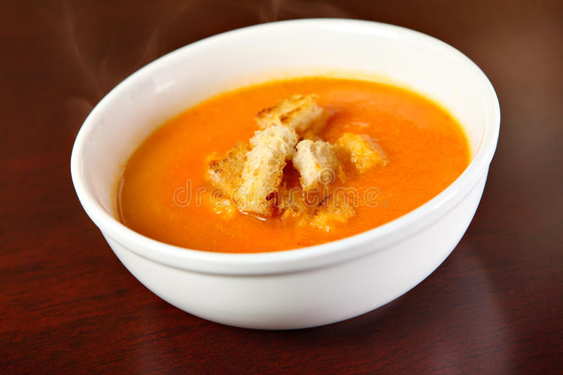 Red pepper cream soup stock image