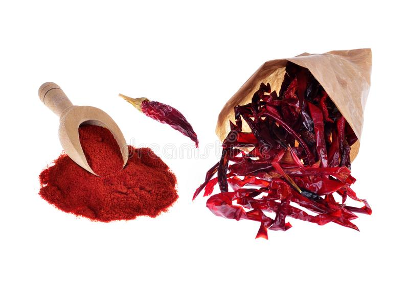 Red pepper ground, dry red hot chili. Peppers on an isolated white background stock image