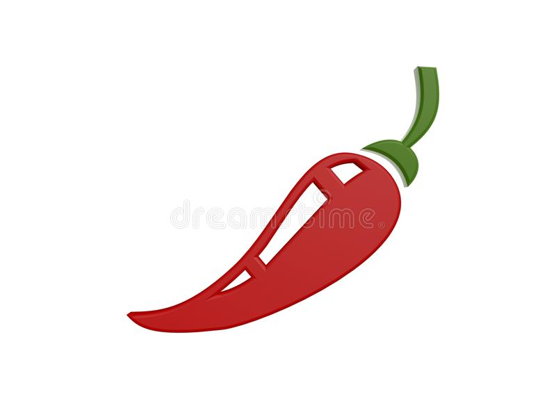 Red pepper. Red hot pepper symbol isolated on white background royalty free illustration