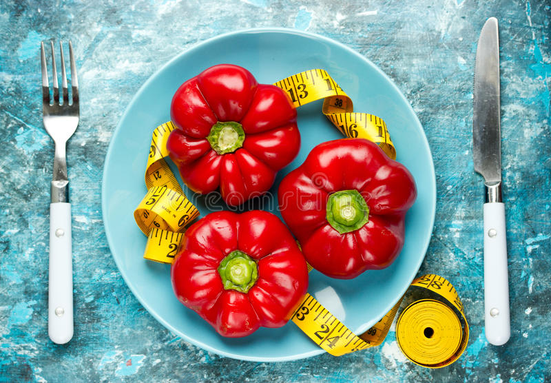 Red pepper and measuring tape on plate royalty free stock photo