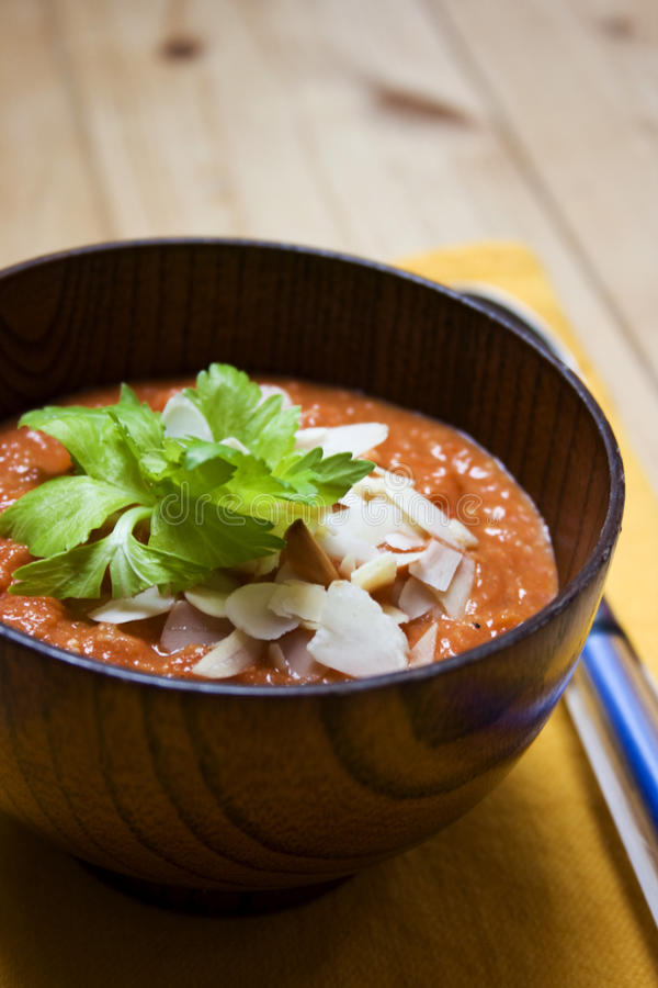 Free Red Pepper Tomato Soup With Almonds Stock Photography - 9853842