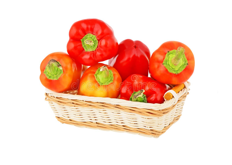 Red pepper in a wattled basket stock photo