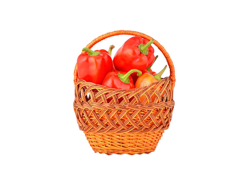 Red pepper in a wattled basket royalty free stock image