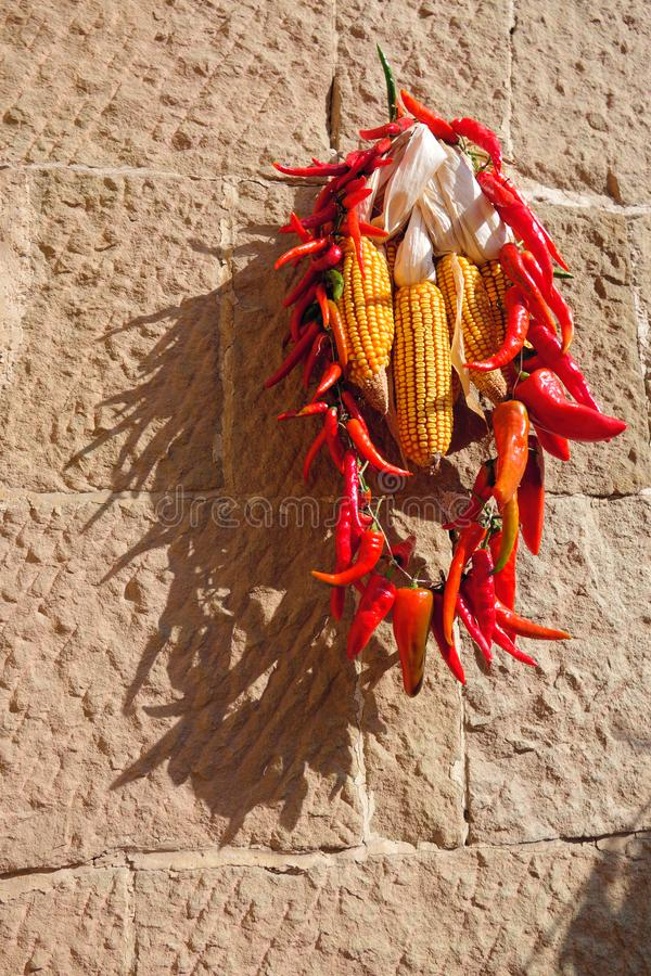 Red pepper and yellow maize stock image