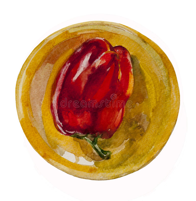 Red pepper on the yellow plate. Watecolor original illustration flat lay red pepper on the yellow plate on white background vector illustration