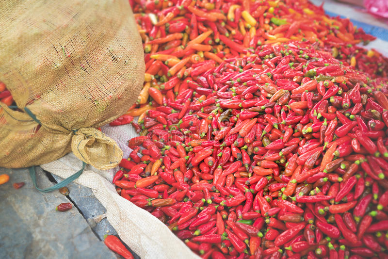 Red Peppers on Food Market stock images