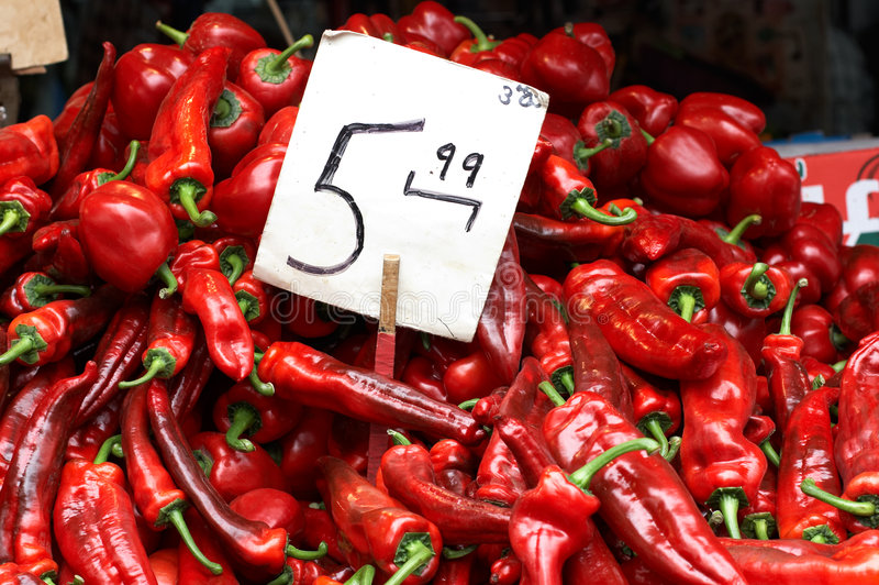 Red peppers at the market stock photos