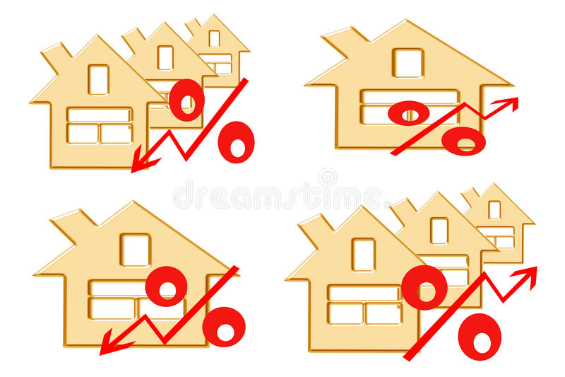 Red percent sign on the background of houses . vector illustration